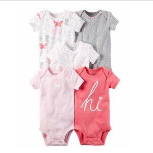 Baby Girl 5-pk. Pink Short Sleeve Onsies 3 months